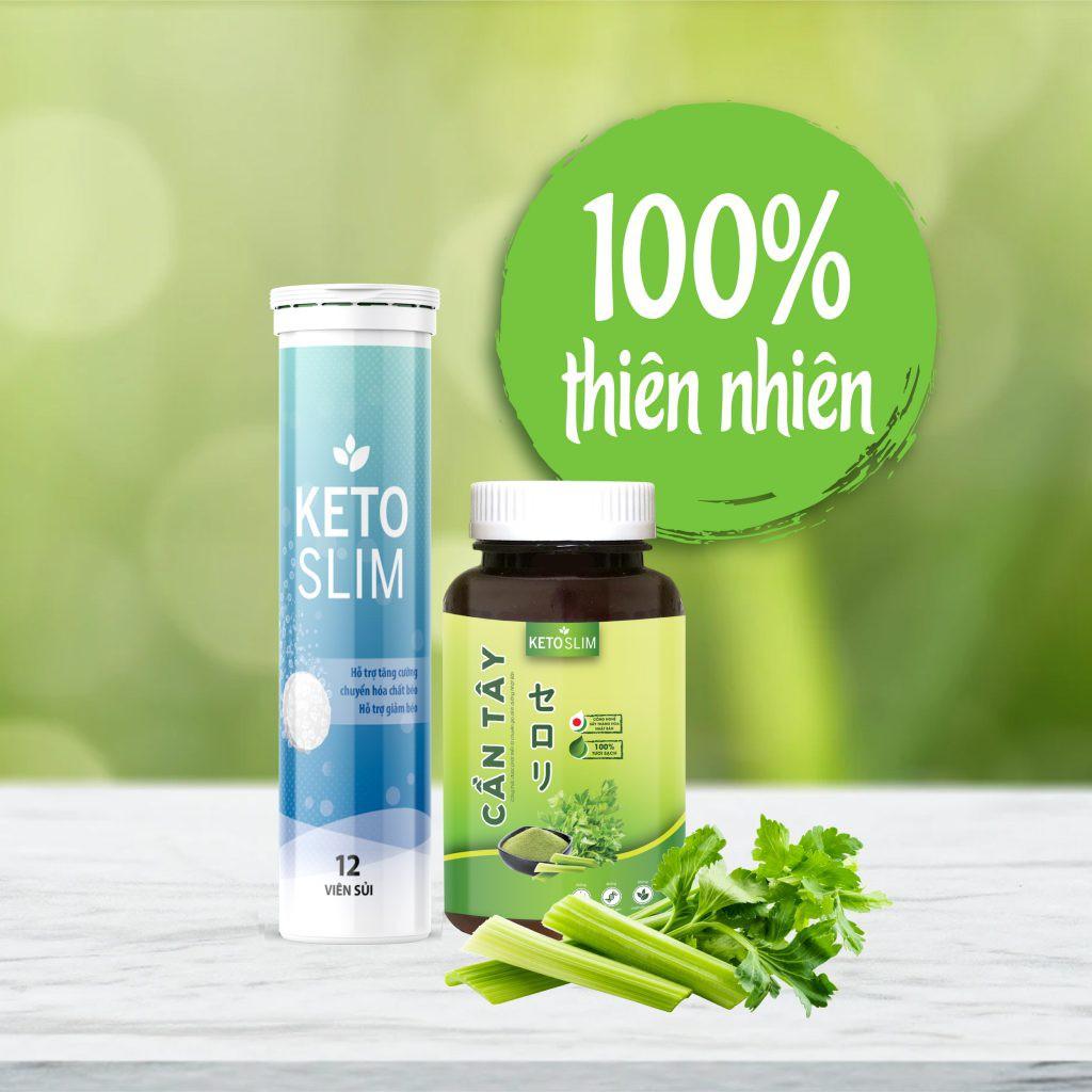 Bộ sản phẩm hỗ trợ giảm cân viên sủi Keto Slim và Cần Tây Keto Slim