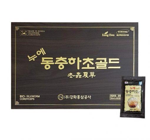 Đông trùng hạ thảo KangHwa Hàn Quốc hộp gỗ đen 60 gói chính hãng