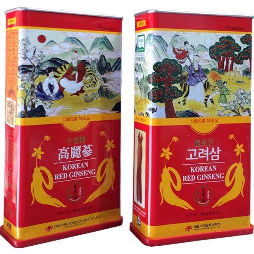 Hồng sâm củ khô Deadong Hàn Quốc 150g hộp thiếc ông Thọ chính hãng