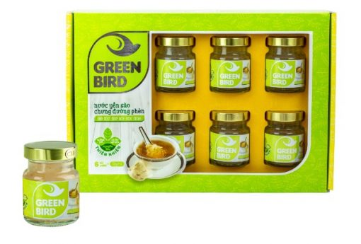 Lốc Green Bird Nutri Nest, Nước Yến Sào Chưng Đường Phèn loại 6hũ72g