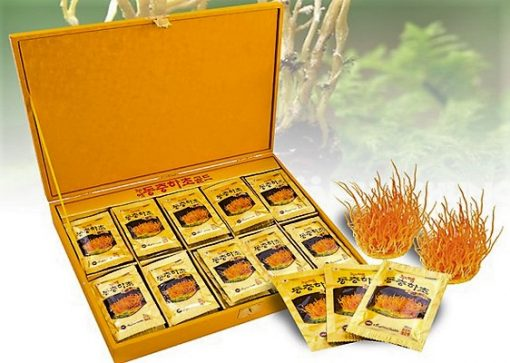 Nước Đông trùng hạ thảo Hàn Quốc hộp gỗ vàng Kanghwa 60 gói chính hãng