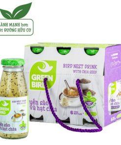 Nước Uống Bổ Dưỡng Yến Sào và Hạt Chia Nutri Nest Lốc Green Bird 6 chai185ml