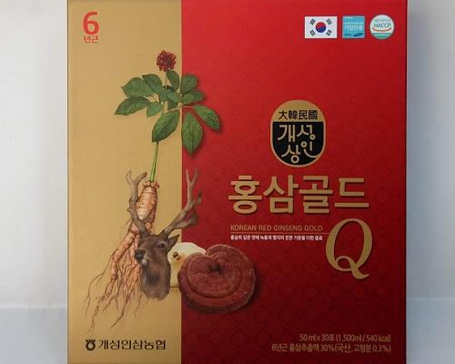 Nước hồng sâm linh chi nhung hươu Q Hàn Quốc Red Ginseng Gold hộp 30 gói x 50ml