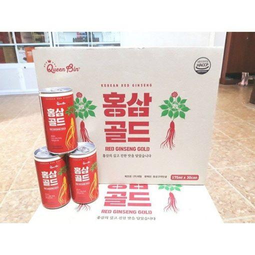 Nước tăng lực hồng sâm DWI Queen Bin Red Ginseng Gold Hàn Quốc 175ml 12 lon