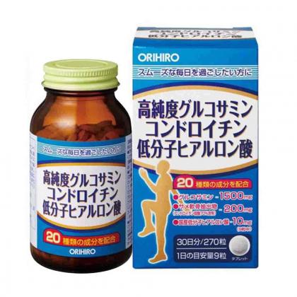 Viên xương khớp Glucosamine Orihiro Hyaluronic Acid Nhật Bản lọ 270 viên chính hãng